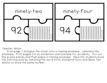 Base Ten Number Puzzles (Two Digit Numbers)