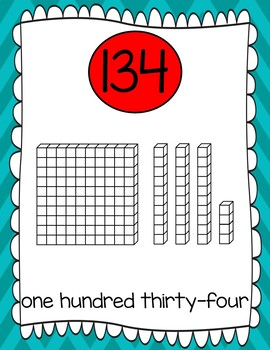 Base Ten & Number Word Posters: 100-200 + 300-1,000 by 100 Turquoise/Red Chevron