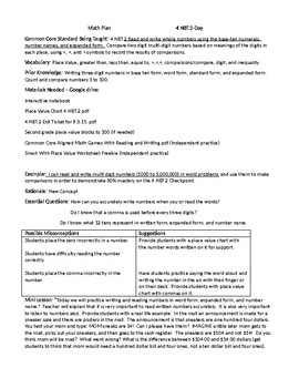 Base-Ten Numbers (Four Days of Lesson Plans)