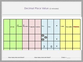 Base Ten Place Value Decimals Lesson 1