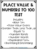 Base Ten & Place Value to 100 Test