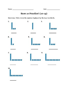 Base Ten Practice 10-19