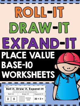 Base Ten Printable - Base Ten Worksheet -Roll it, Draw it,