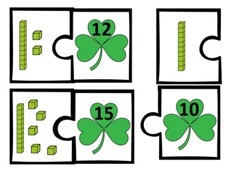 Base Ten Puzzles (numbers 10-50) St. Patrick's Day