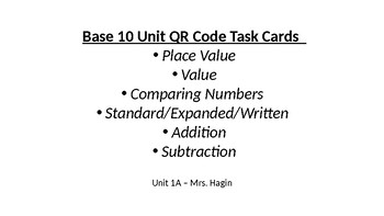 Base Ten QR Code Task Cards