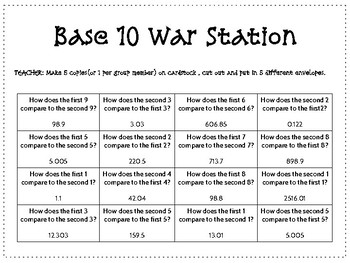 Base Ten Relationship War Station