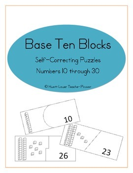 Base Ten Self-Correction Puzzles - Numbers 10 through 30