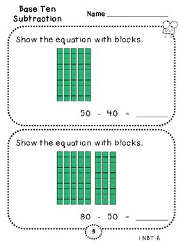 Base Ten Subtraction-Student Pages (First Grade, 1.NBT.6)