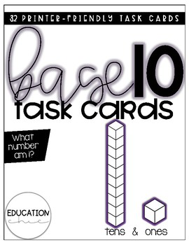 Base Ten Task Cards: What Number Am I? (Tens and Ones)