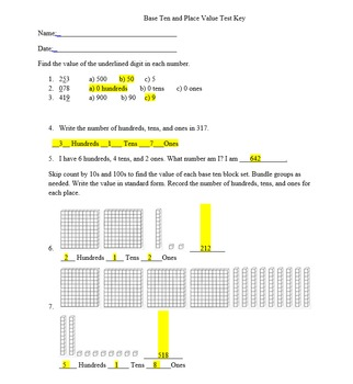 Base Ten and Place Value Assessment
