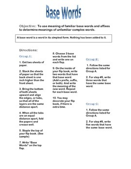 Base Words Flip Book Directions for Literacy Center