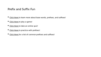Base Words, Prefixes, and Suffixes Powerpoint