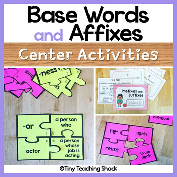 Base Words and Affixes - Prefix and Suffix Activities and Task Cards