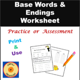 Base Words and Endings Worksheet