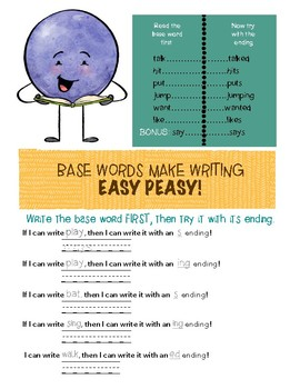 Base Words and Endings (-s, -ed, -ing with no irregular words)