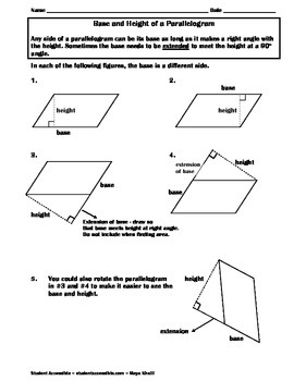 Base and Height of a Parallelogram Fact Sheet
