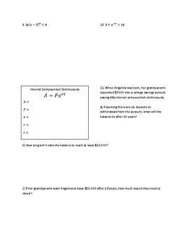Base e and Natural Logarithms Notes