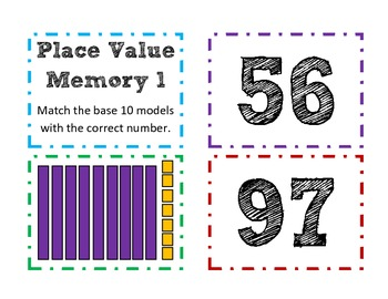 Base ten Tens and Ones Worksheets, Center, Memory Game