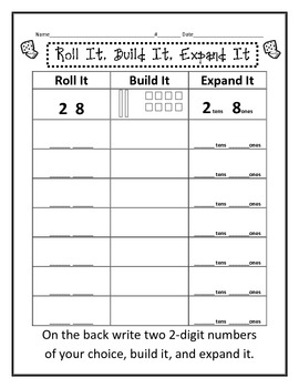 Base ten Tens and Ones Worksheets, Center, Memory Game | TpT