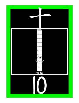 Base ten number posters (1-20) {Black Version} - Chinese numbers