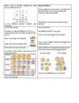 Base ten place value addition subtraction questions math center q's