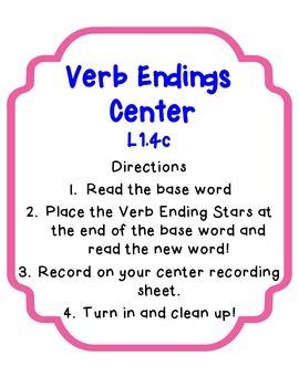 Base words and Verb Endings Center with Differentiated Recording Sheets