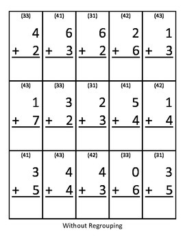 Base10 Block Game Board and 1 Digit Addition