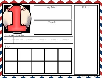 Baseball 0-6 Number Sense Math Centers/Worksheets