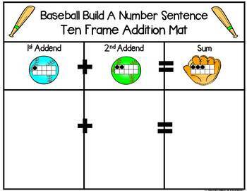 Baseball 2 Addend Addition & Subtraction Math Facts 0-20 With Ten Frames