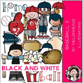 Baseball clip art Part 2 - BLACK AND WHITE - by Melonheadz