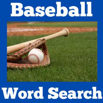 Baseball Worksheet   Baseball Activity   Baseball Word Search