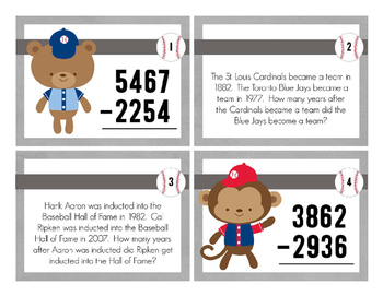 Baseball 4 Digit Subtraction Story Task Cards