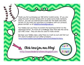 Baseball ABC Letter Matching Cards- Melonheadz Style
