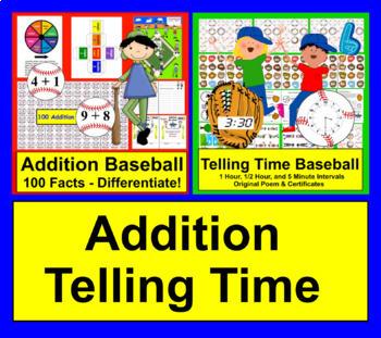 Baseball Math and Literacy Activities Bundle Value for K/1 + Bonus Boom Cards
