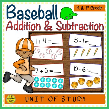 Baseball Add & Subtract 0-10 Number Sentence Match