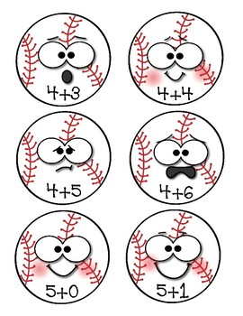 Baseball Addition Game  Math Facts 0-19