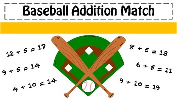 Baseball Addition Match Black and White