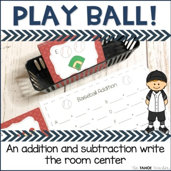Baseball Addition and Subtraction Write the Room