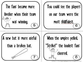 Baseball Adjectives and Adverbs