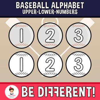 Baseball Alphabet Clipart Letters ENG.-SPAN. (Upper-Lower-Numb.)