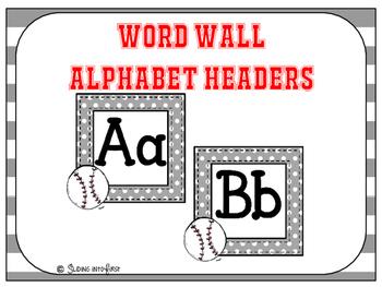 Baseball Alphabet Headers