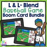 Baseball Articulation Boom Card Games L and L- Blends No Print Speech Therapy