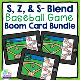 Baseball Articulation Boom Card Games S, Z, and S- Blend BUNDLE