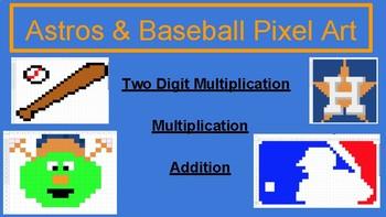 Houston Astros Baseball Pixel Art- Math