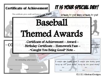 Baseball Awards Set