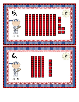 Baseball Base Ten Tiered Math Tub
