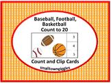 Baseball, Basketball, Football Count and Clip Task Card Activity Math Center
