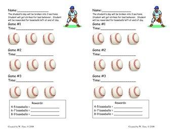 Baseball Behavior Chart