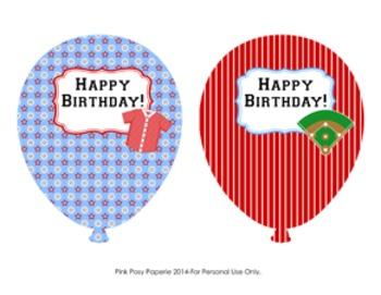 Baseball Birthday Balloons ( 4 different designs )