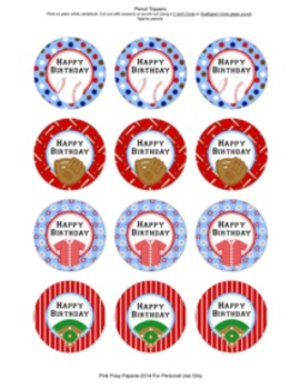 Baseball Birthday Pencil Toppers